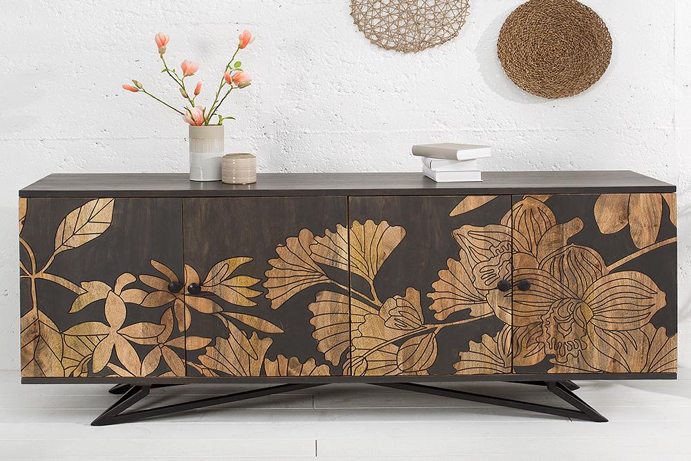 Massives Sideboard Jungle 175cm Mangoholz Florales Design Riess