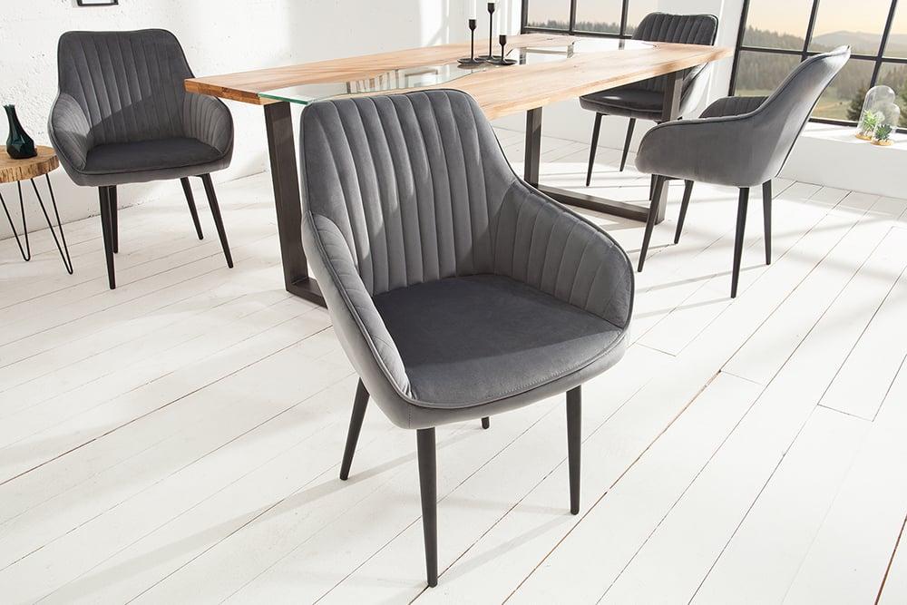 Edler design stuhl turin samt silbergrau mit armlehne for Design stuhle mit armlehne