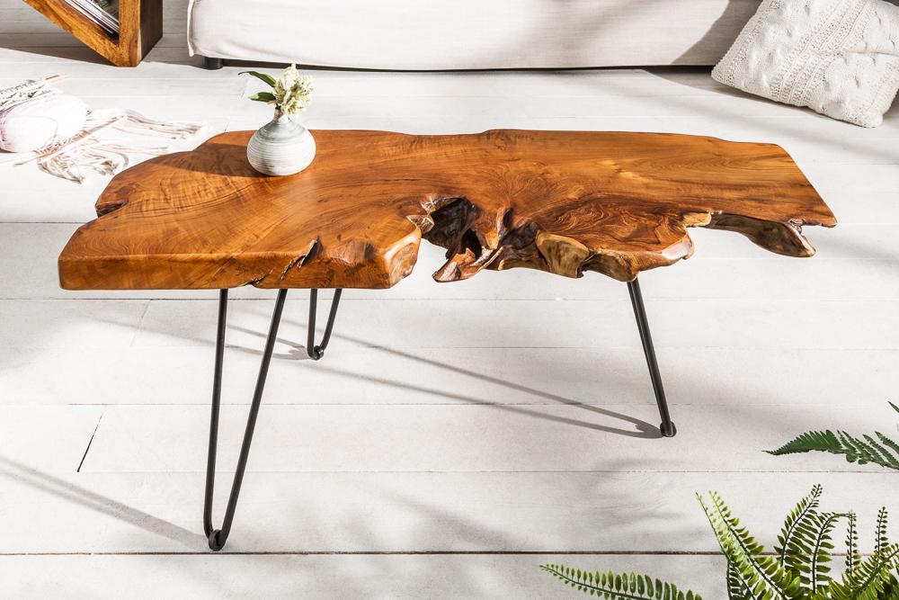 Massiver Couchtisch Wild 100cm Teak Massivholz Baumscheibe Hairpin