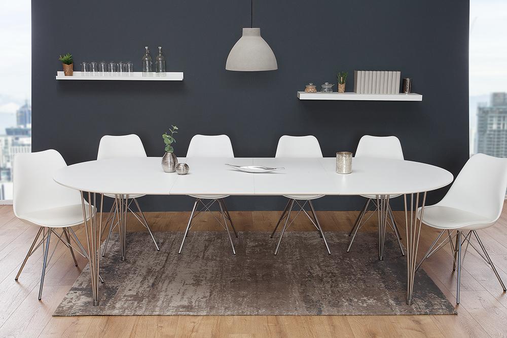 Moderner Esstisch Arrondi Weiß 160 256cm Ausziehbar Riess Ambientede