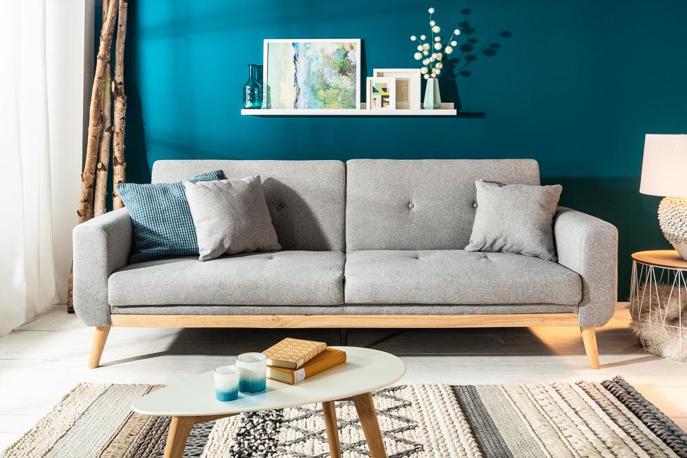 Design Schlafsofa Skagen 215cm Hellgrau Scandinavian Design Bettfunktion Riess Ambiente De