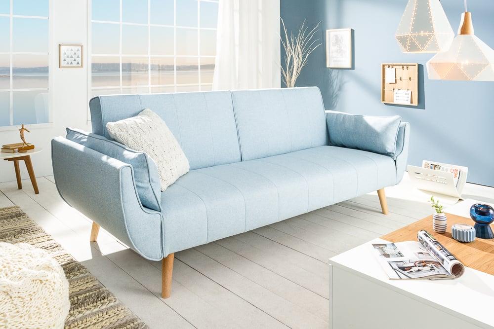 Design Schlafsofa Divani 215cm Hellblau Bettfunktion 3er Sofa