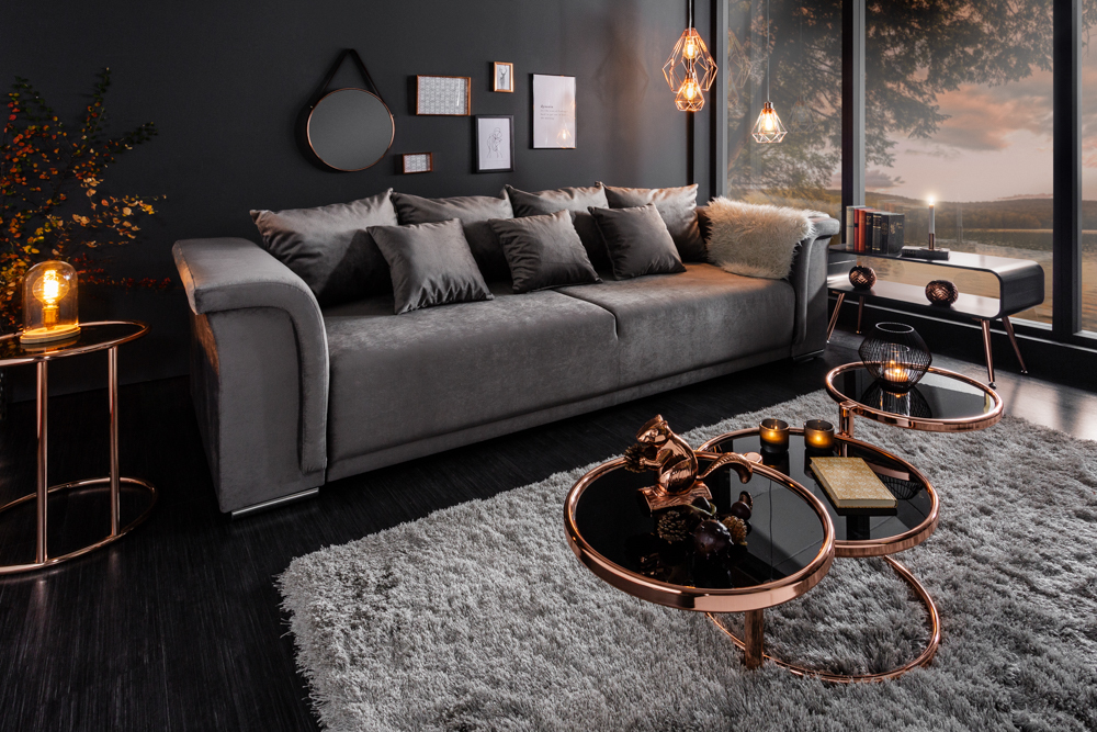 Big xl sofa bellina 270cm hellgrau samt schlaffunktion - Braunes ecksofa ...