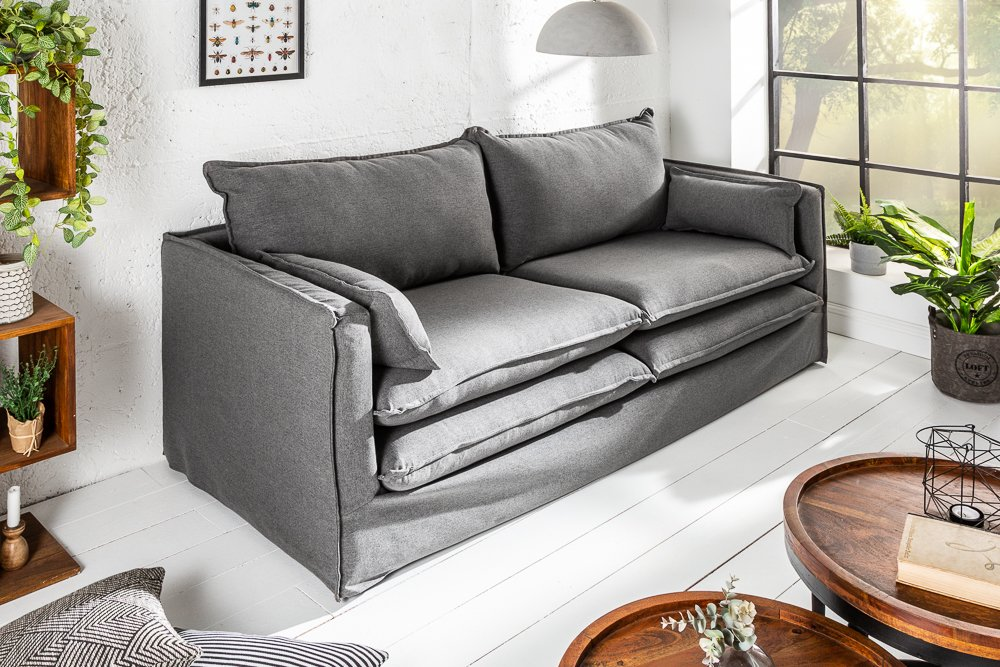 Design Hussensofa Cloud 195cm Grau Inkl Kissen 2er Sofa Landhausstil Riess Ambiente De