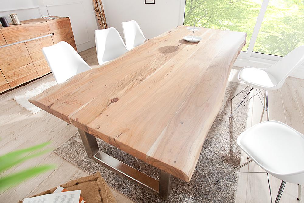 Massiver Baumstamm Tisch Mammut 300cm Akazie Edelstahl Kufengestell Mit 6cm Tischplatte Riess Ambiente De