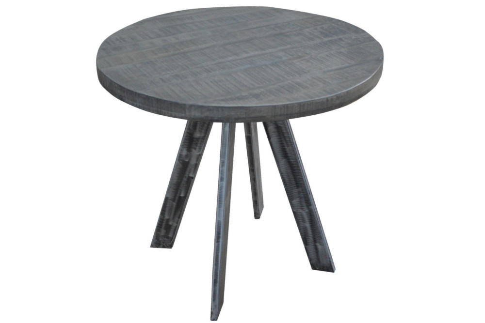 massiver esstisch iron craft 80cm rund grau mangoholz geflexte beine riess. Black Bedroom Furniture Sets. Home Design Ideas