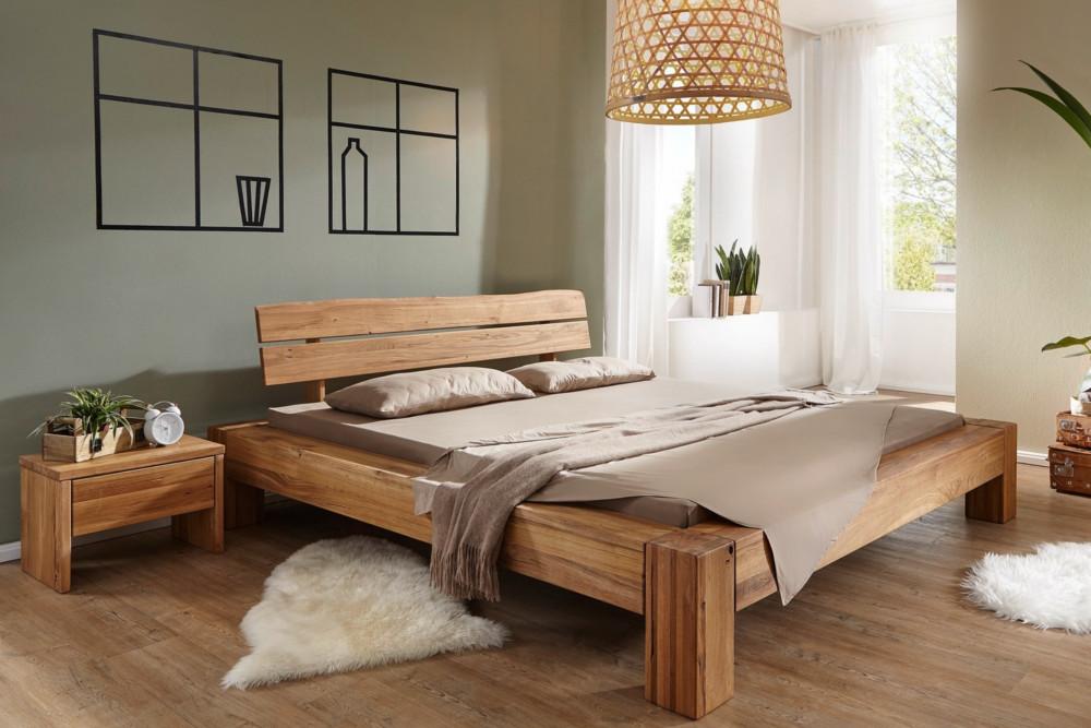 Massives Holz Bett Thor I 180x200cm Wildeiche Geolt Balken Bett Riess Ambiente De