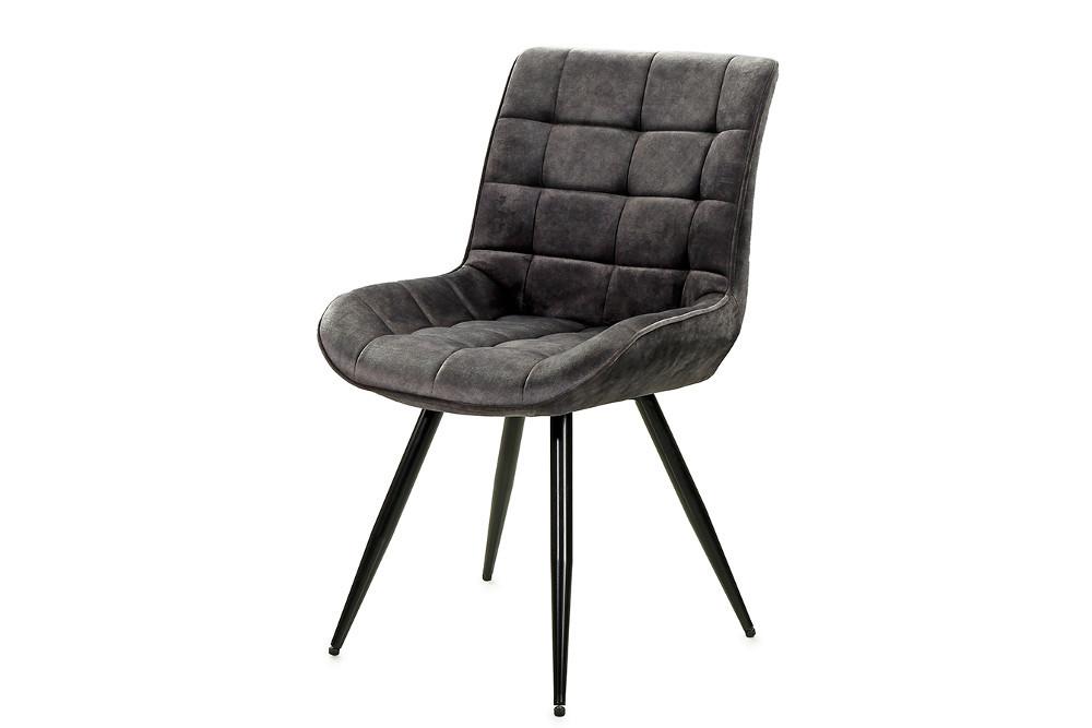 Retro Stuhl Continental Grau Samt Mit Schwarzen Metallbeinen Riess