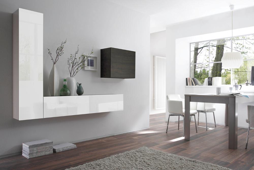 moderne cube wohnwand milano no 6 made in italy wei hochglanz und wenge optik riess. Black Bedroom Furniture Sets. Home Design Ideas