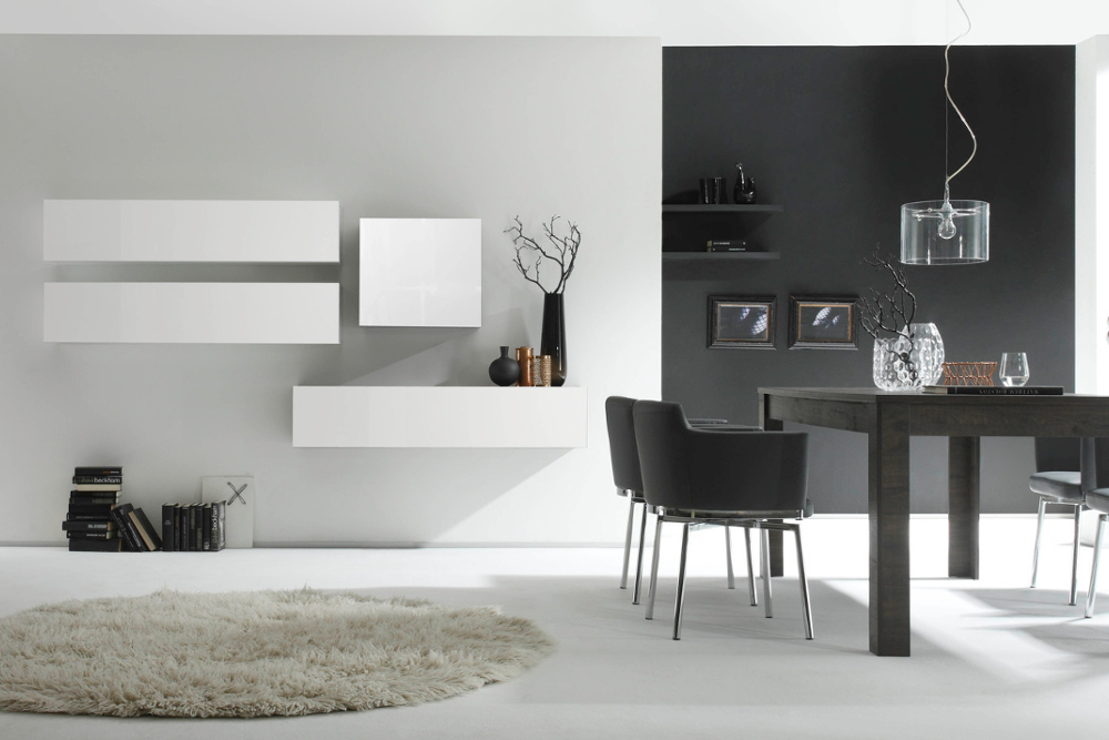 moderne cube wohnwand milano no 7 made in italy wei hochglanz riess ambiente onlineshop. Black Bedroom Furniture Sets. Home Design Ideas