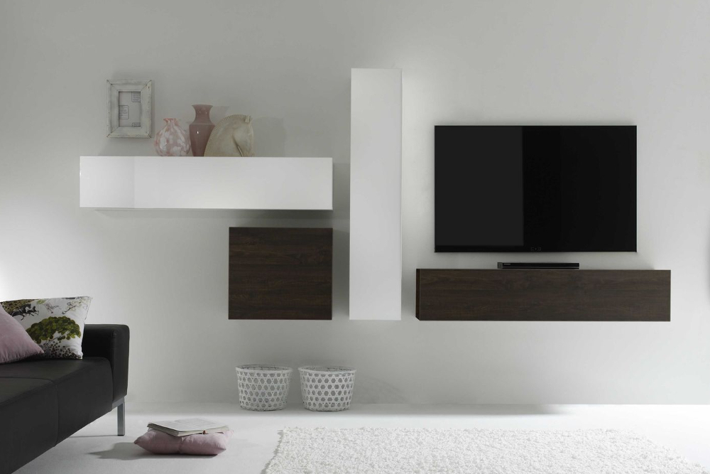 design wohnwand wei hochglanz. Black Bedroom Furniture Sets. Home Design Ideas