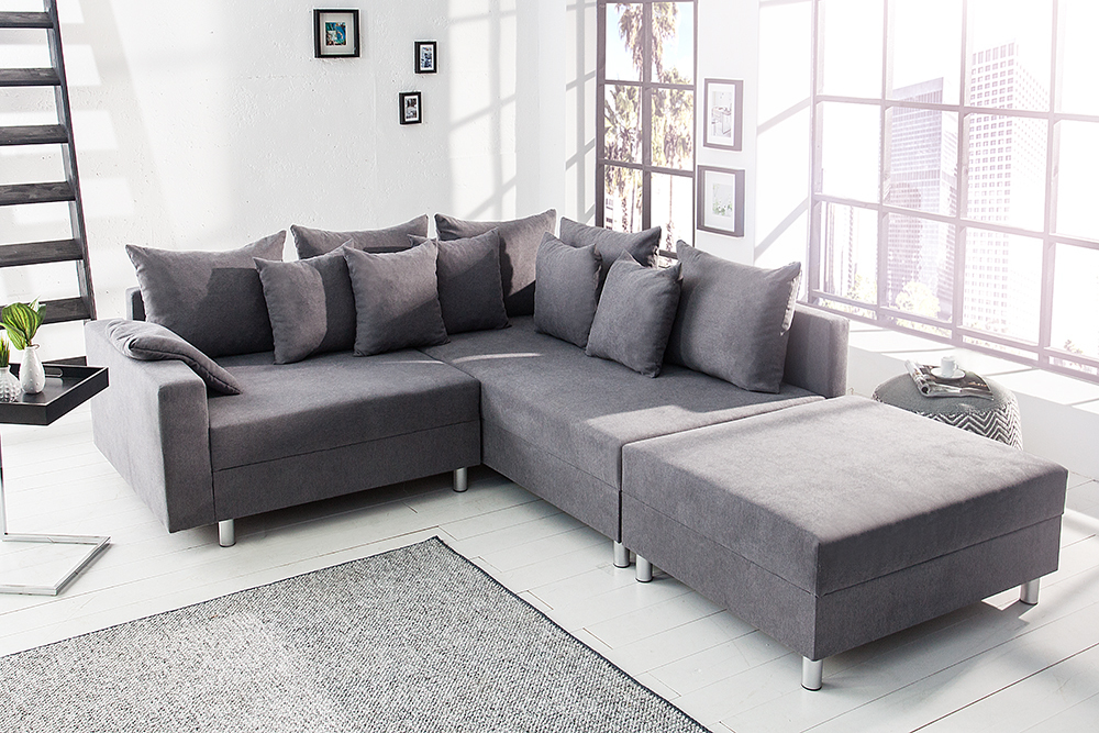 design ecksofa loft grau soft baumwolle mit hocker federkern sofa ot beidseitig aufbaubar. Black Bedroom Furniture Sets. Home Design Ideas