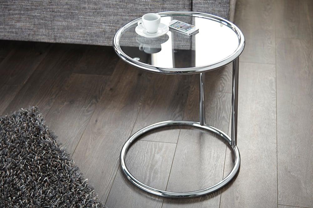 Design Beistelltisch Art Deco 55cm Chrom Glas Wohnzimmertisch