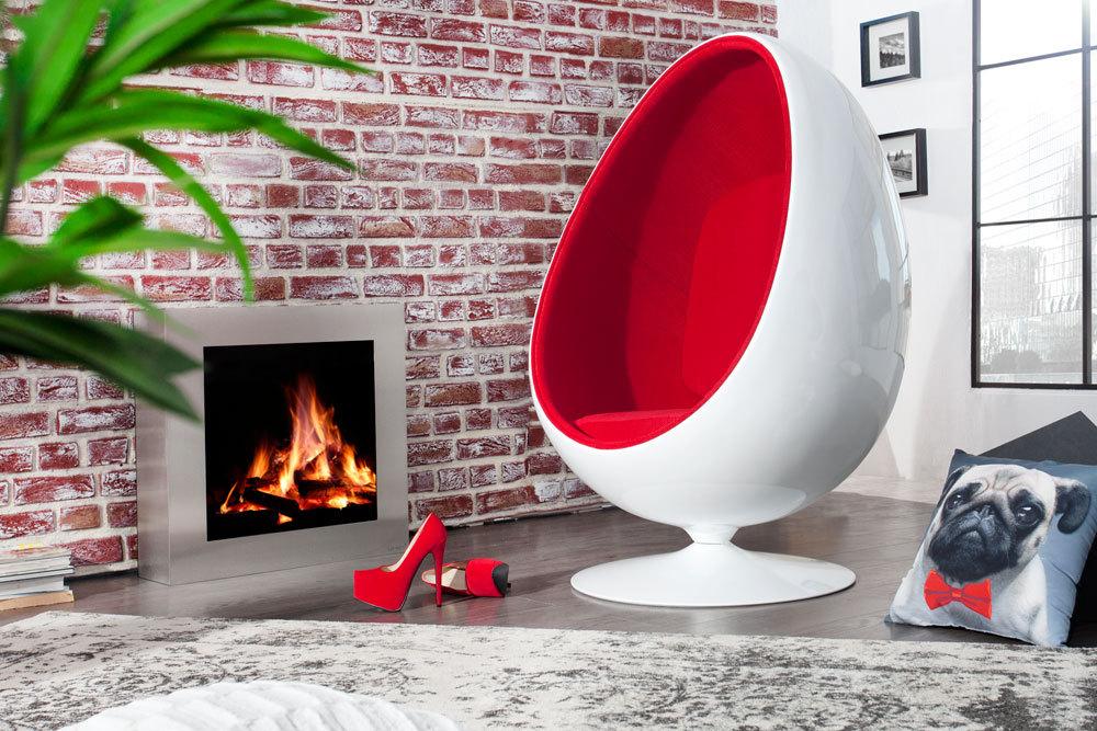Design Lounge Sessel Sitzei SPACE EGG weiß rot   Riess-Ambiente.de