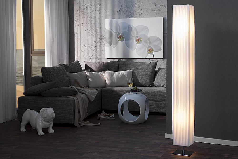 Edle Design Stehlampe PARIS Weiß 160cm Plissee Schirm XXL