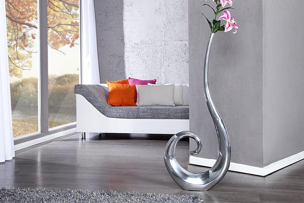 riesige designer vase wave metall aluminium legierung silber xxl 105cm riess. Black Bedroom Furniture Sets. Home Design Ideas