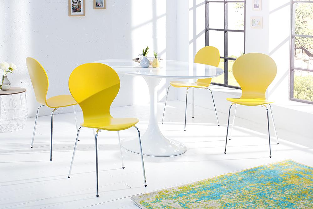 4er set stuhl form designklassiker aus hochwertigem formholz gelb stapelbar riess. Black Bedroom Furniture Sets. Home Design Ideas