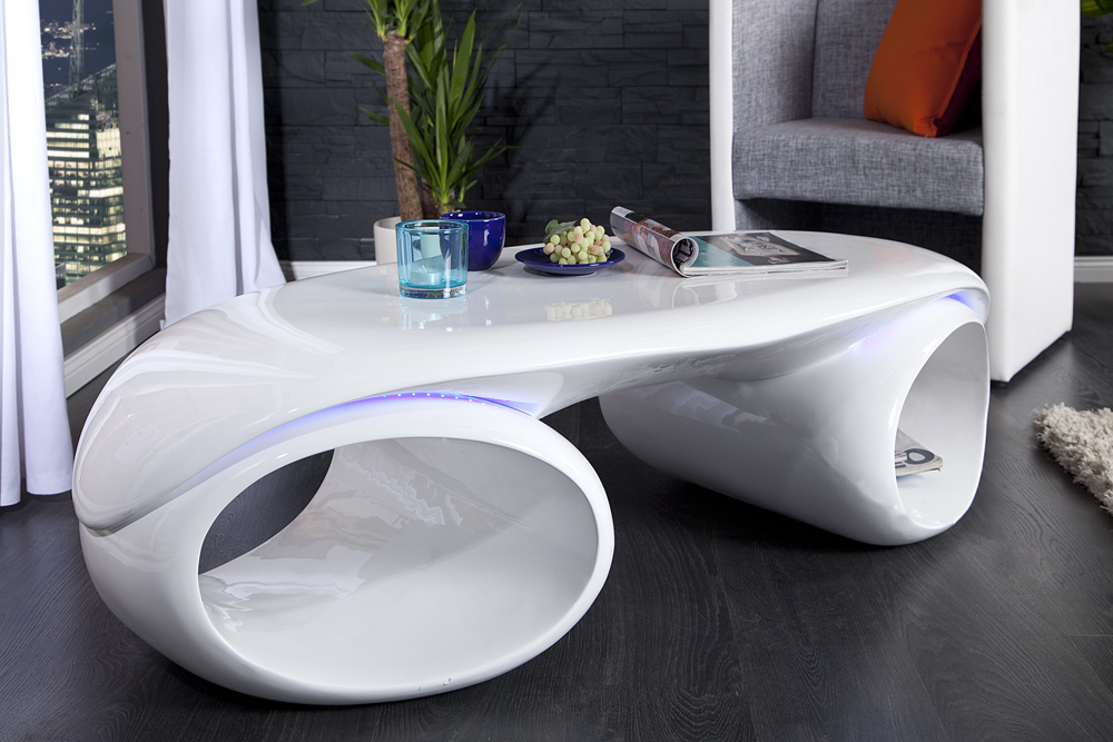 Design couchtisch futura weiss highgloss mit led for Design couchtisch bowl highgloss