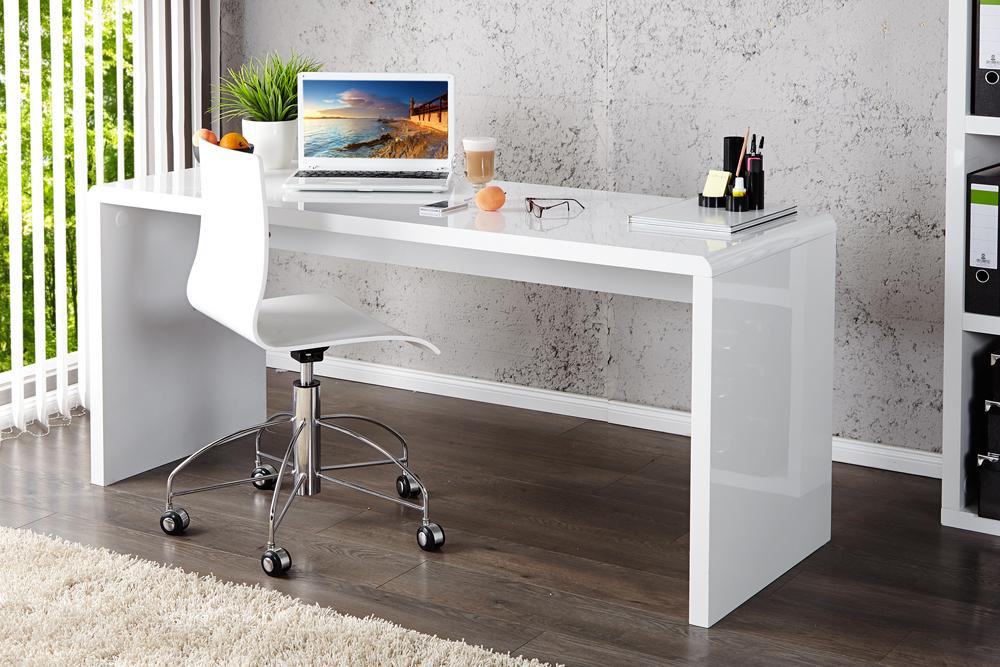design schreibtisch fast trade hochglanz weiss 140cm riess ambiente onlineshop. Black Bedroom Furniture Sets. Home Design Ideas
