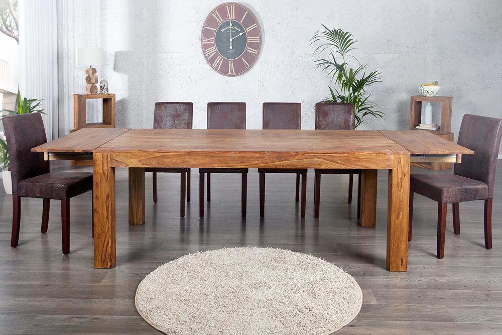 Massiver edelholz esstisch makassar sheesham 160 240cm for Table de salle a manger pour 8 personnes
