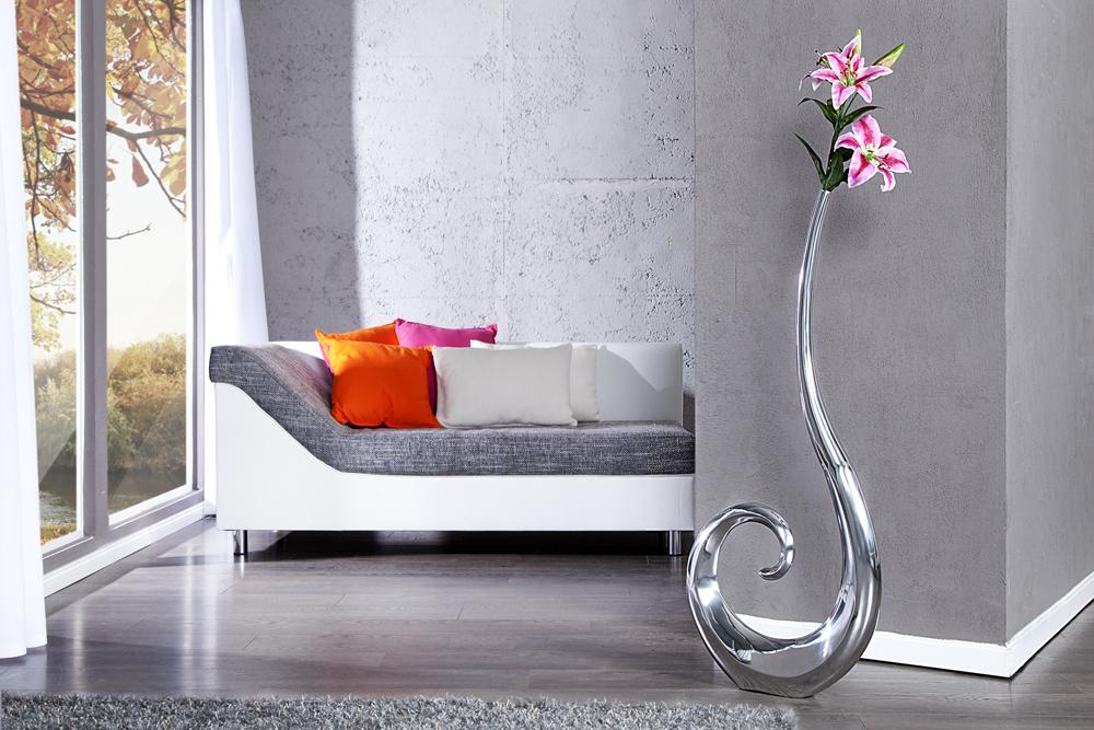 riesige designer vase wave metall aluminium legierung silber xxl 106cm riess ambiente onlineshop. Black Bedroom Furniture Sets. Home Design Ideas