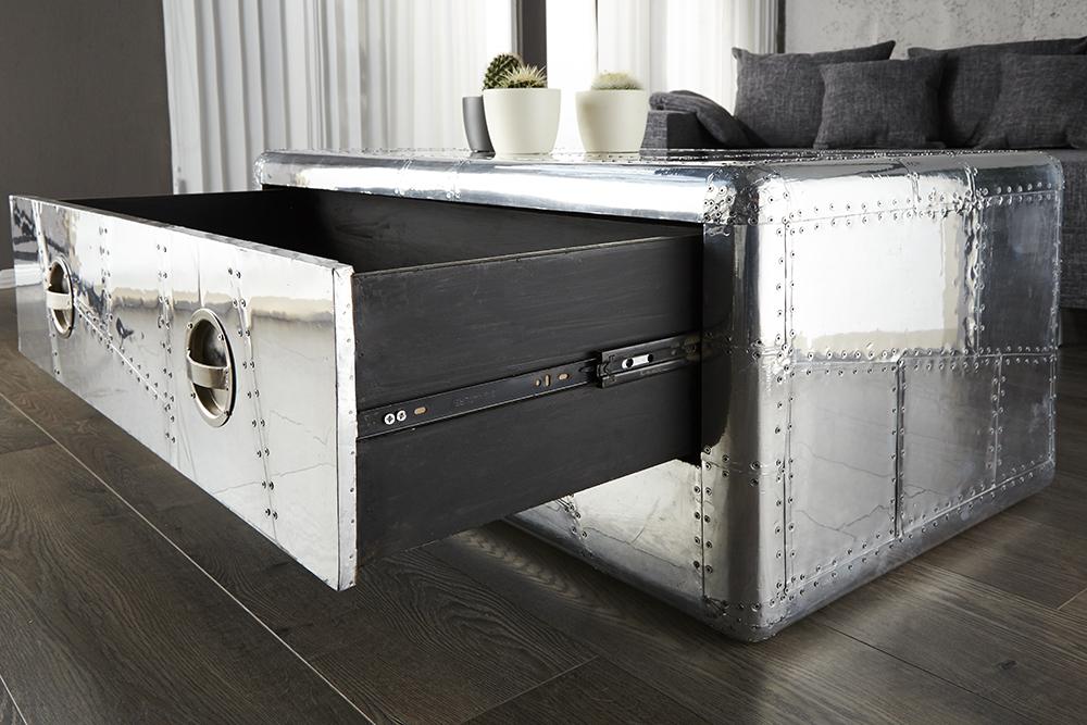 Couchtisch Silber : Design Couchtisch ALLOY Silber Alu 100cm ...