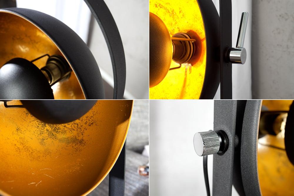 design stehlampe studio 3 lampenschirme schwarz gold lampe. Black Bedroom Furniture Sets. Home Design Ideas