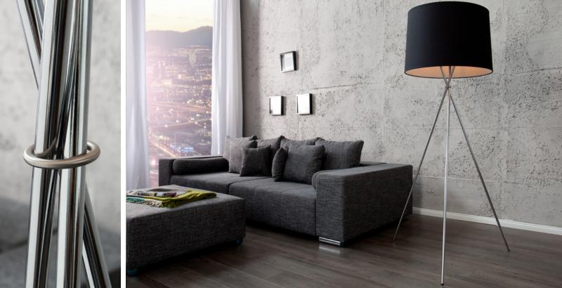 Elegante Design Stehlampe CLASSIQUE 165cm schwarz mit drei Beinen Chrom Stehleuchte