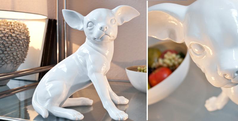 Hochwertige Skulptur CHIHUAHUA POP 30 cm weiß
