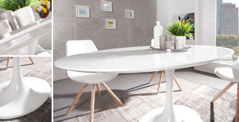 Stylischer Esstisch SIGNUM 160cm oval aus Fiberglas weiß puristisch