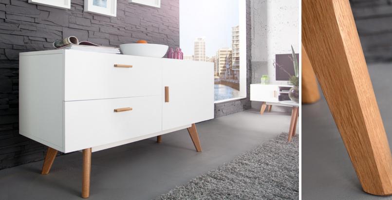 Design Sideboard SCANIA MEISTERSTÜCK 120cm weiß Echt Eiche Anrichte