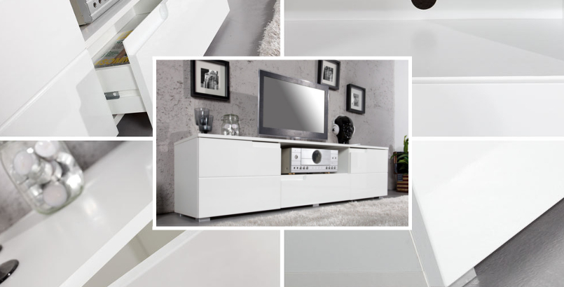 Design TV-Lowboard SPICE 165cm weiß Hochglanzfront TV-Board