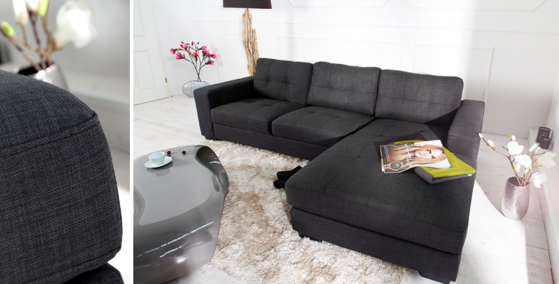 Design Ecksofa BOSTON Strukturstoff anthrazit Steppoptik OT rechts