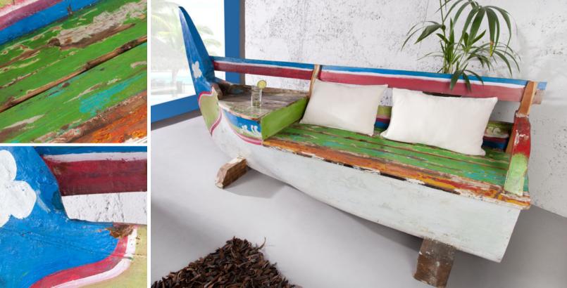 Einzigartige Boots Bank JAWA original recyceltes Fischerboot Holz Bali Teak