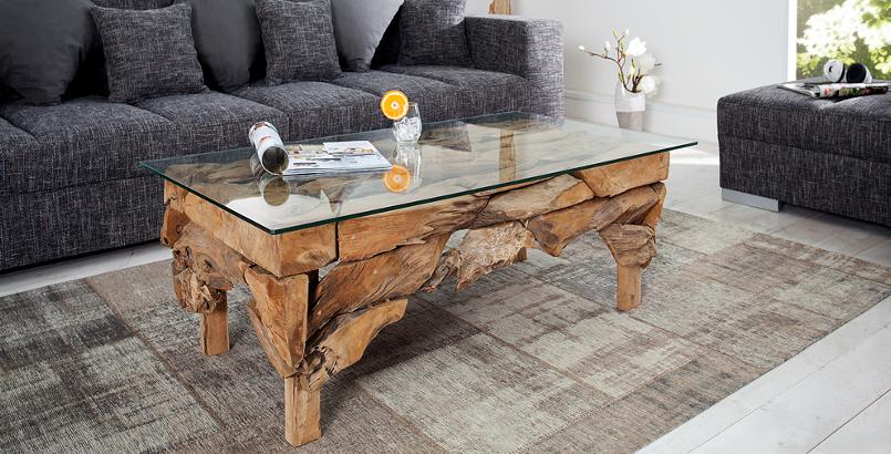 Design Couchtisch RIVERSIDE Treibholztisch mit Glasplatte 120x70cm