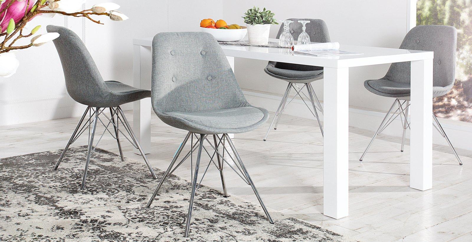 Retro Designklassiker Stuhl SCANIA MEISTERSTÜCK II grau mit Gestell aus Chrom