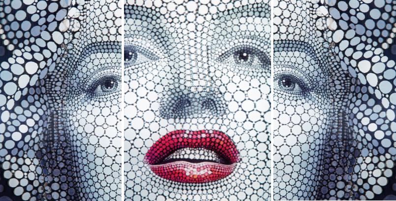 KARE DESIGN 3D Bild Marylin Monroe 60x60cm POP ART - Digital Circlism Art - By Ben Heine