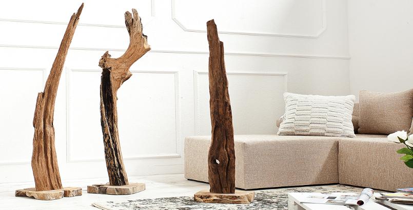Große Stand Natur Skulptur REEF Treibholz Teak 125-150 cm