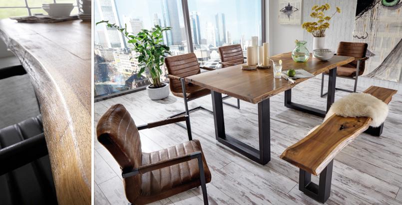 Massiver Baumstamm Tisch QUEENS 200cm Akazie lackiert mit Kufengestell aus Eisen