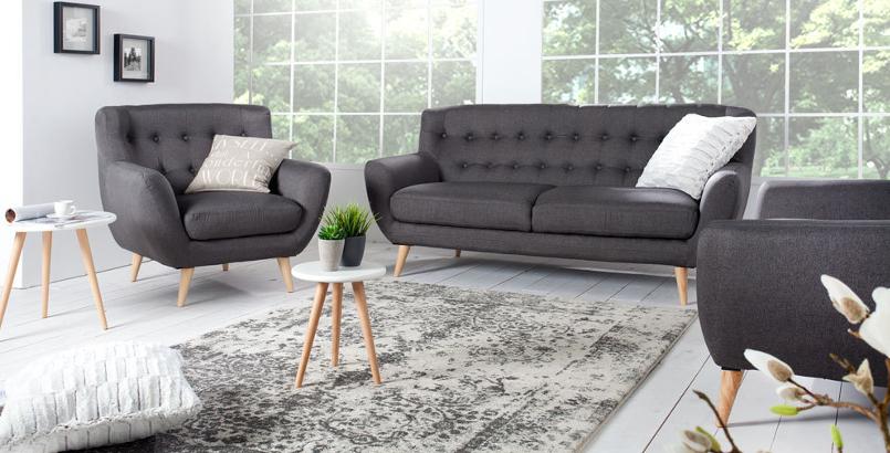 Retro Designklassiker 3er Sofa SCANIA MEISTERSTÜCK anthrazit 3-Sitzer