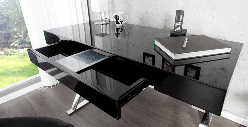 Design Schreibtisch GRACE high gloss 120cm schwarz Schublade