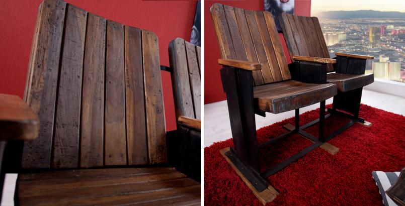 Original Kinositz CINEMA 2-Sitzer aus recyceltem Holz Unikat