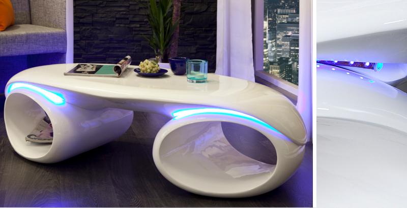 Design Couchtisch FUTURA weiss highgloss mit LED Beleuchtung