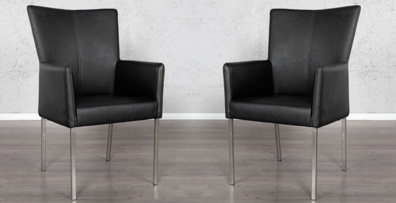 Stuhl MEDINA schwarz mit Armlehnen und hochwertigen Edelstahlrahmen