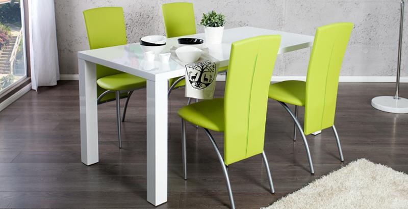 Esszimmer-Set Tisch LUCENTE 160cm Hochglanz + 4 Stühle NICO limette