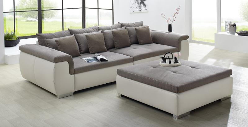 Moderne Design Wohnlandschaft YUBA greige XXL Big Sofa 310cm