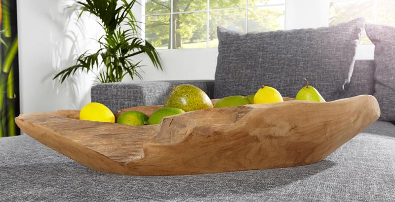 Exklusive Teak Holz Schale 60cm NATURE BOAT massives Wurzelholz natur unbehandelt