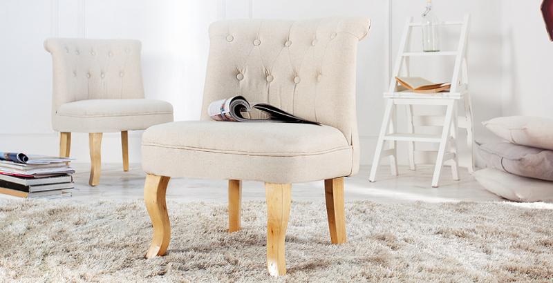 Design Sessel BOUTIQUE hochwertiger Leinenstoff beige mit Nackenrolle