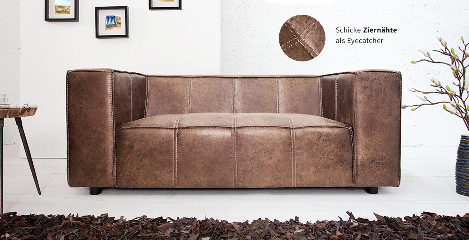 Design 2er Sofa GAUCHO in coffee mit Ziernähten