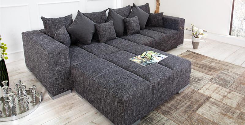 Design XXL Sofa BIG SOFA ISLAND in grau charcoal Strukturstoff inkl. Kissen